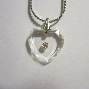 VINTAGE  Acrylic Heart w/Rhinestone necklace